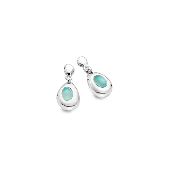 Silver Pebble Earrings with Blue Chalcedony