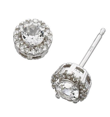 White Gold Diamond and White Topaz Stud Earrings