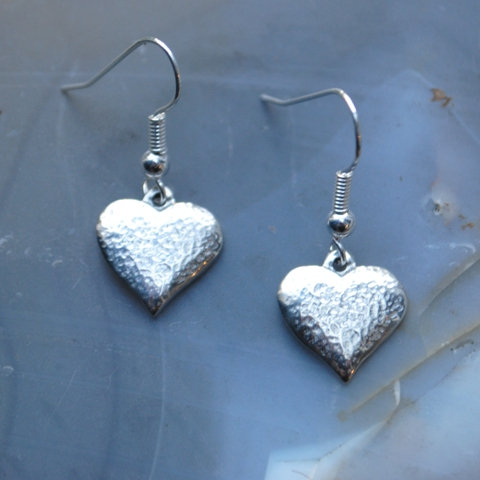 Textured Heart Earrings, pewter, drops or studs