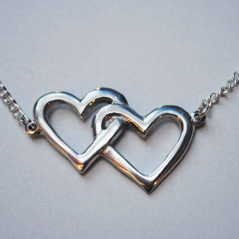 Hearts Entwined Necklace, Pewter