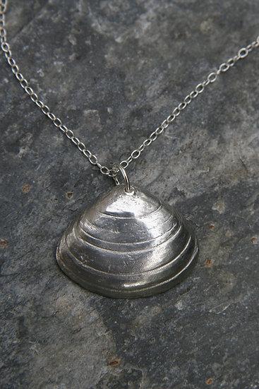 Porthcurno Shell Pendant, Natural Silver