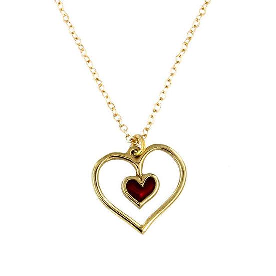 Red Heart pendant, Bronze