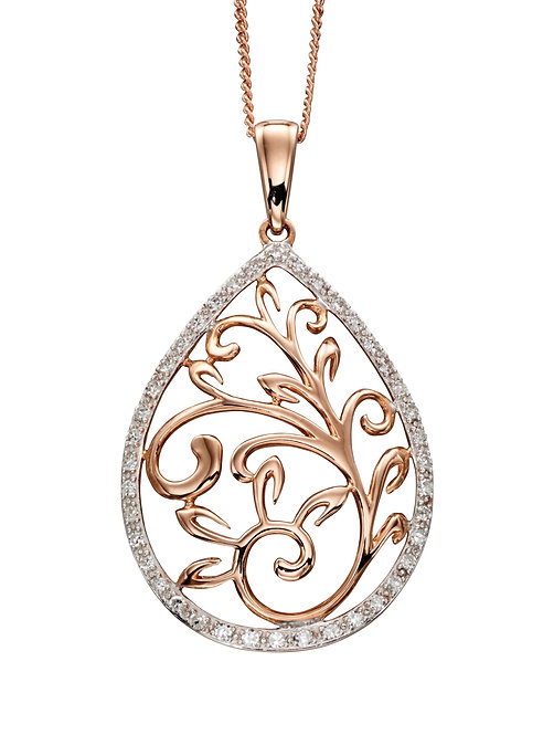 Rose Gold Baroque Cutout Pendant with pave Diamond