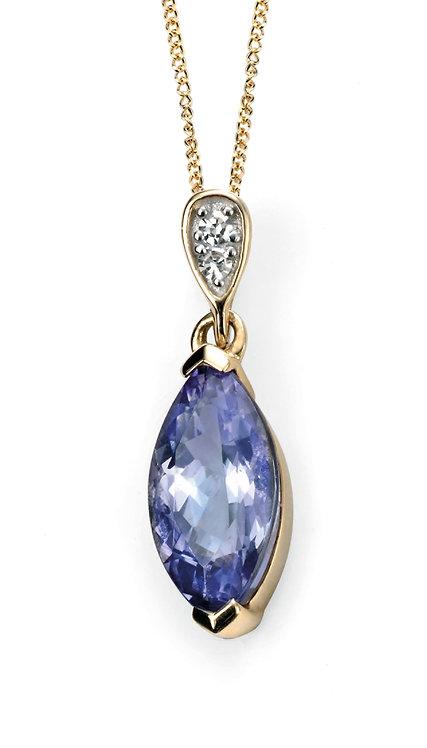 Diamond and Tanzanite Marquise pendant