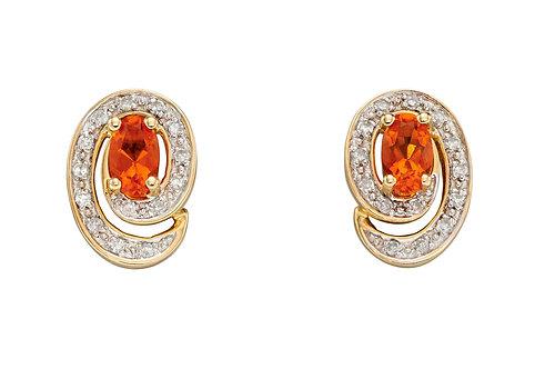 Fire Opal Stud Earrings with Diamond