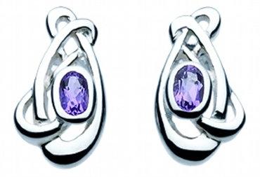 Celtic Heather Art Nouveau Knot Amethyst Stud Earrings