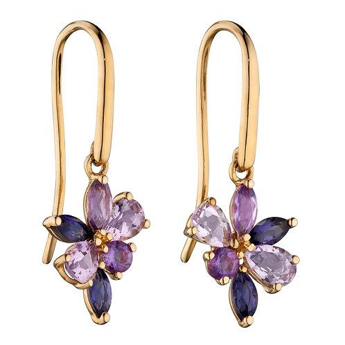 Amethyst, Iolite and Marquise Teardrop Cluster Earrings