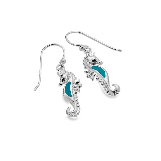 Turquoise Seahorse Earrings, studs or drops
