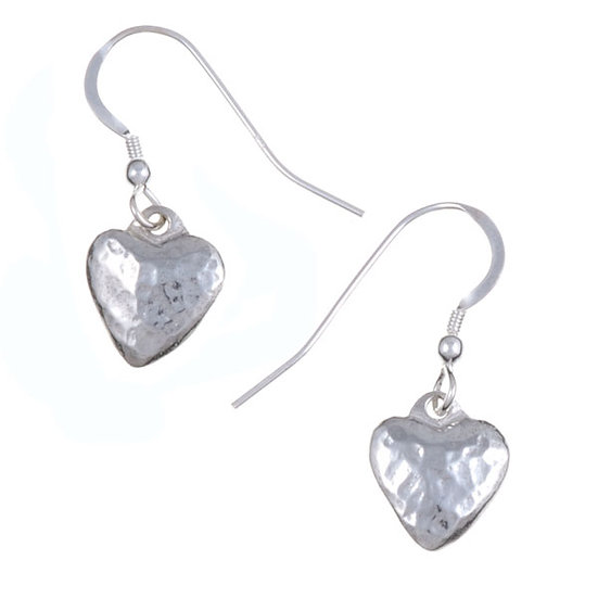 Small planished heart earrings, Tin, drops or studs