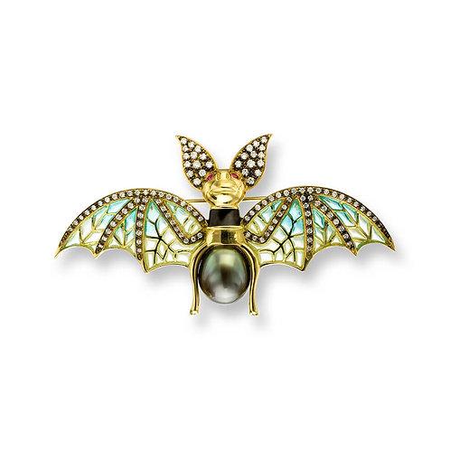 18 Carat Gold Blue Bat Brooch, Diamonds, Tahitian Pearl and Rubies