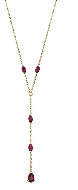 Red Garnet Lariat Necklace
