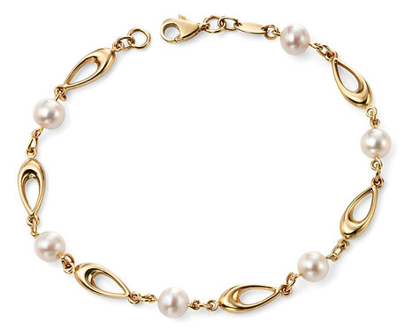 Yellow Gold Link Bracelet with Freshwater Pearls
