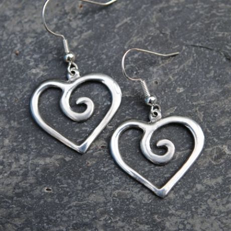 Spiral Heart Earrings, pewter