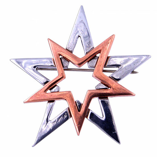 Double star brooch