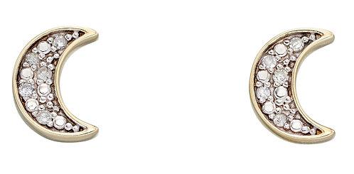 Moon Diamond Stud Earrings