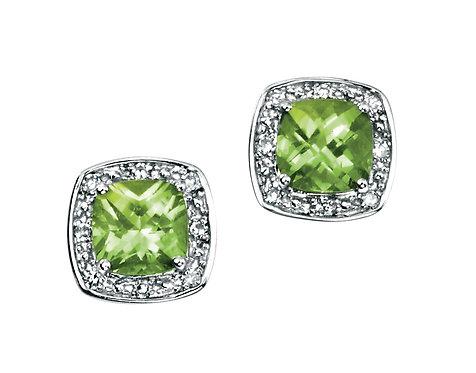 White Gold Diamond and Peridot Stud Earrings