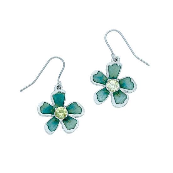 Exotic flower crystal drop earrings