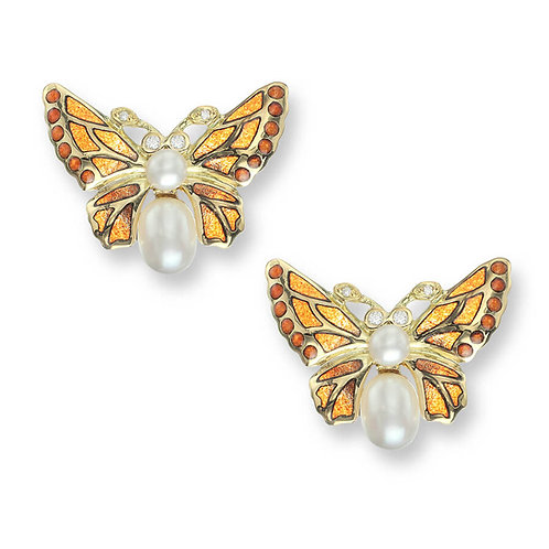 18 Carat Gold Orange Butterfly stud earrings with Diamond and Pearl