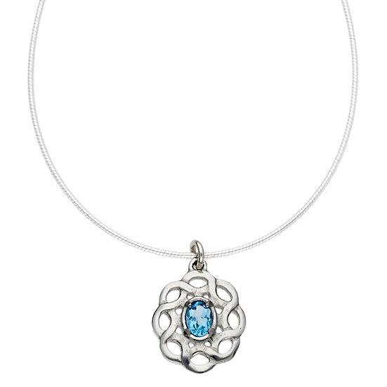 Topaz Celtic Knot pendant, Cornish Tin