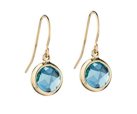 Round Drop Earrings with Amethyst or Blue Topaz
