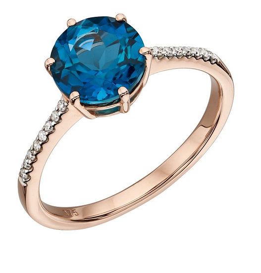 Rose Gold London Blue Topaz Ring with Diamond