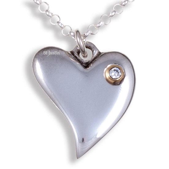 Diamond Heart pendant, Cornish Tin