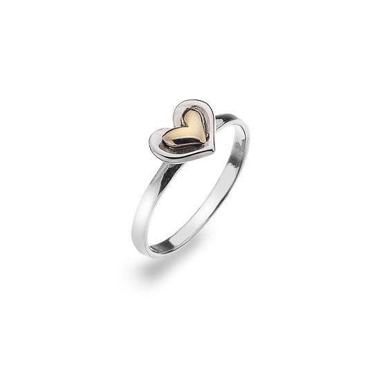 Silver & Brass Heart Ring