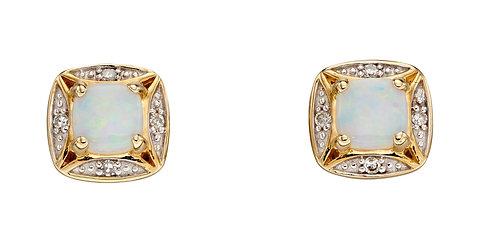 Opal and Diamond stud Earrings