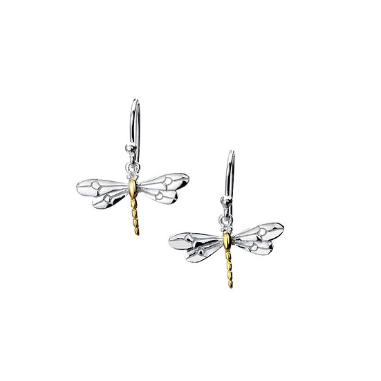 Dragonfly Earrings, Silver with Gold Plate, Studs or Drops