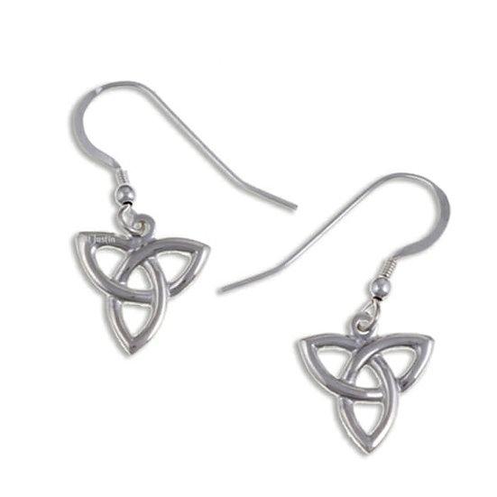 Three Loop Love knot drop earrings, Silver