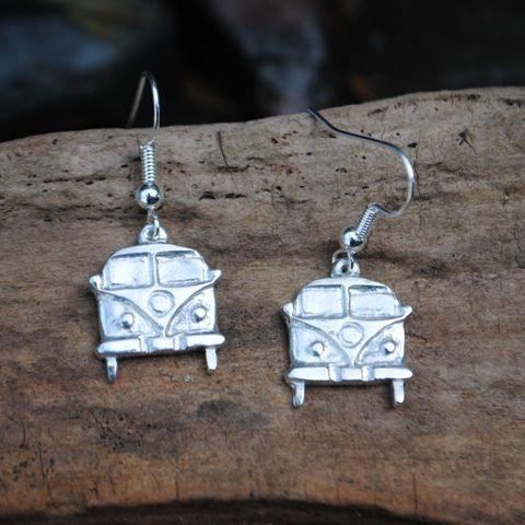 Camper Van Earrings, pewter