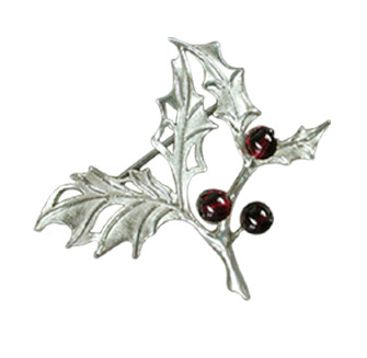 Holly Brooch with Garnet