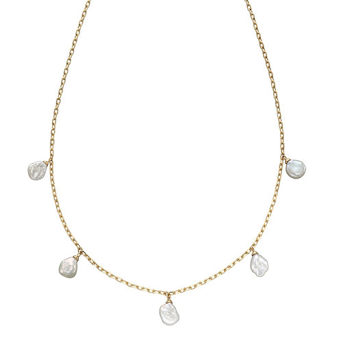 Keshi Pearl Charm Necklace