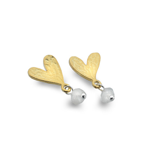 Gold plated Textured Heart earrings with gemstone dropper