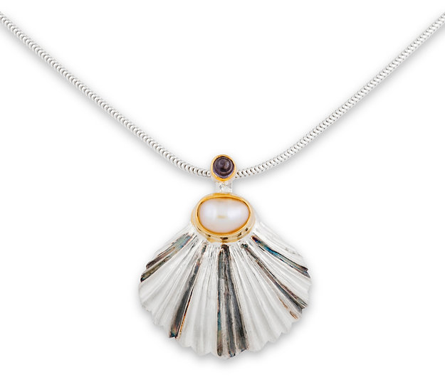 Scallop Shell Pendant with Iolite and Pearl