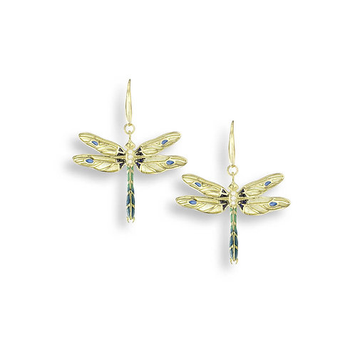 18 Carat Gold Dragonfly Earrings with Diamonds, Yellow or Green