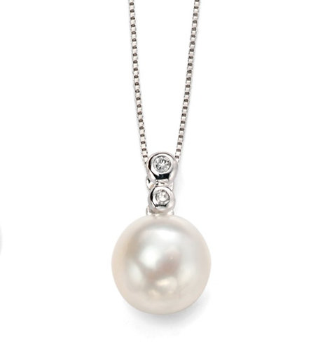 Freshwater Pearl Pendant with Diamond