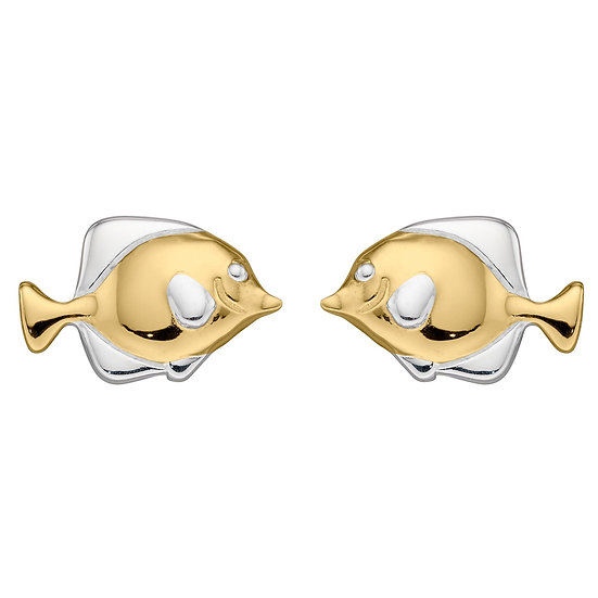 Gold plated Fish stud earrings