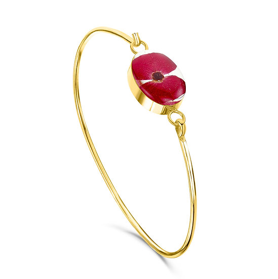 Gold Plated Poppy Bangle, Real Flower