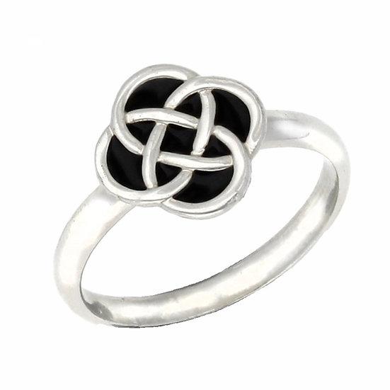 Enamelled Celtic Square Knot Ring