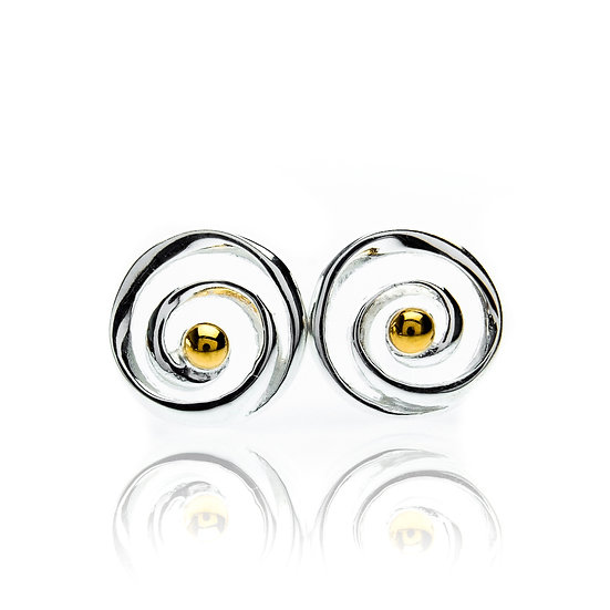Spiral Stud Earrings, Silver with Gold Plate
