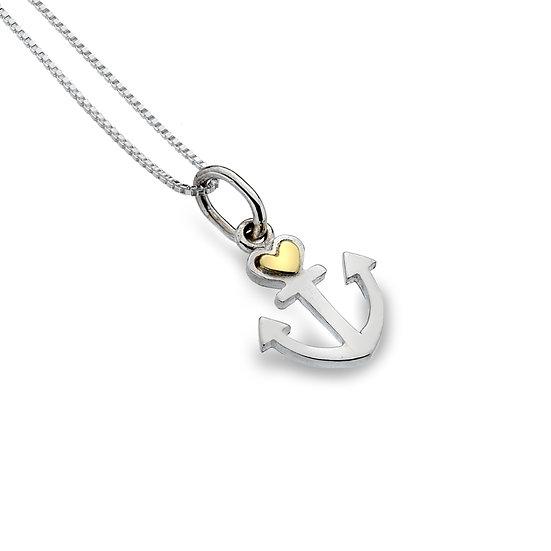 Silver Anchor Heart Pendant
