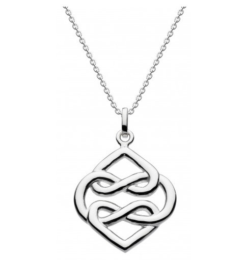 Celtic Silver Carys Double Heart Pendant