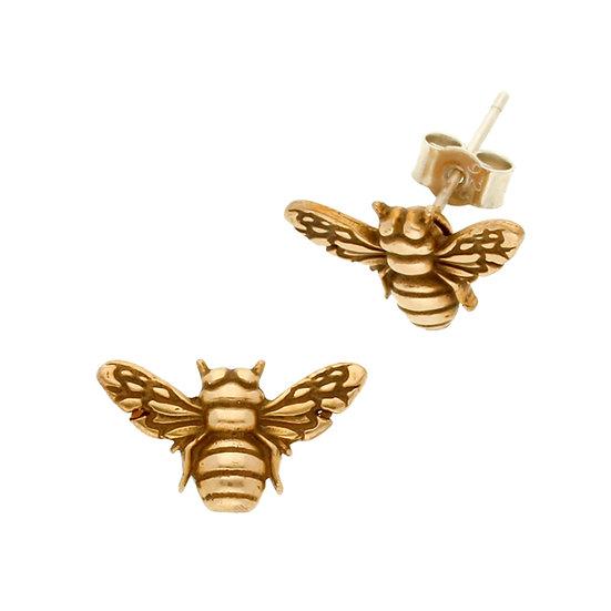 Bee stud earrings, Bronze or Silver