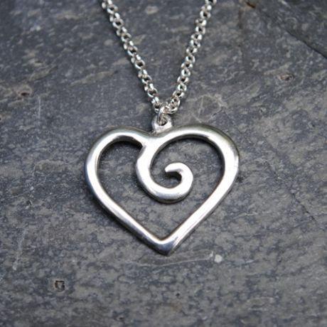 Spiral Heart Pendant, pewter