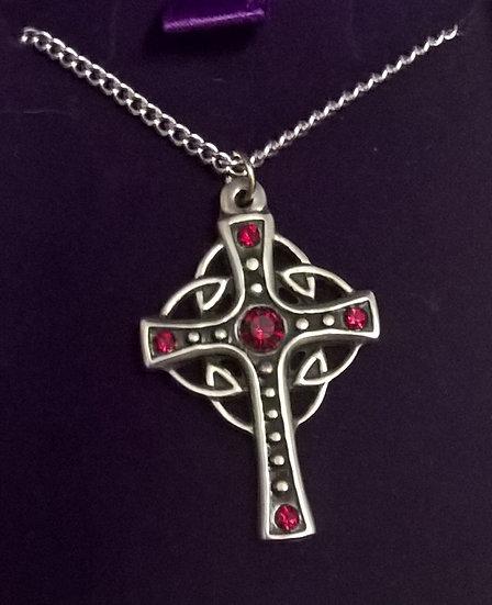 Crystal loop cross necklet, Red Crystal