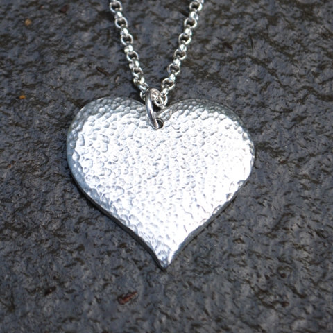 Textured heart pendant, pewter