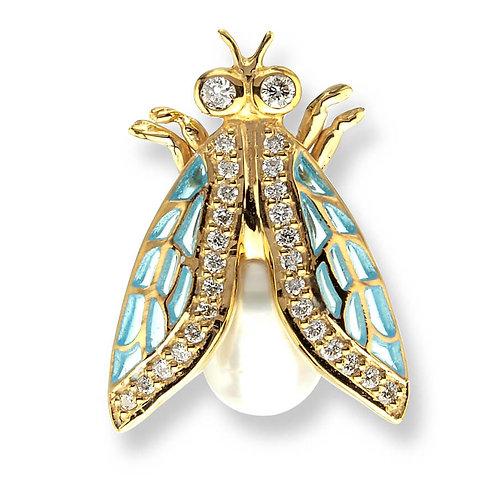 18 Carat Gold Turquoise Cicada Lapel Pin with Diamonds