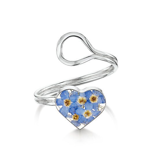 Adjustable Silver Ring with Real Flowers, Heart shaped