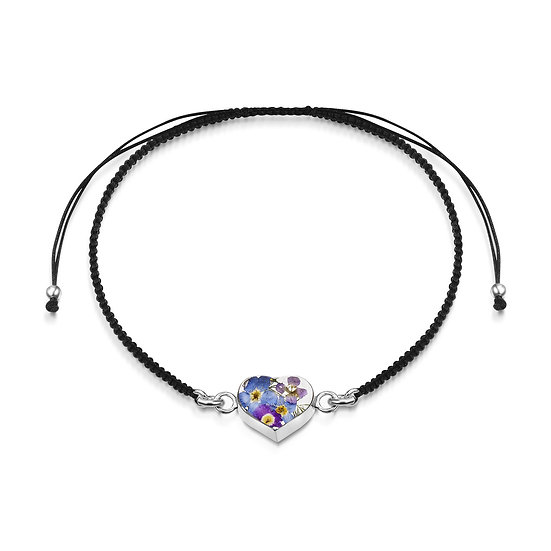 Black cord bracelet with real Real Flower Heart or Butterfly charm, Silver
